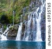 Scenic view of picturesque waterfalls on river Langevin, Reunion Island. - stock photo