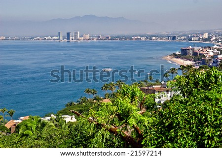 Scenic view of Puerto Vallarta, Mexico from high on a hilltop - stock photo