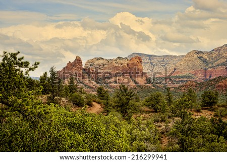 Scenic view of red rock formations in Sedona, Arizona - stock photo