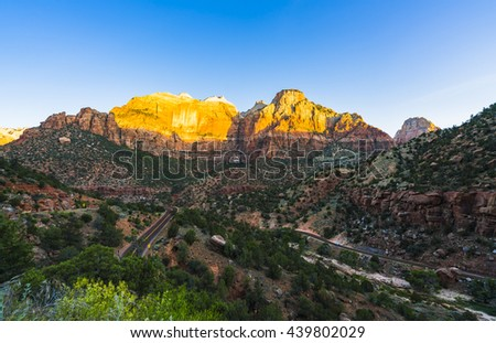 scenic view of road and valley in Zion National park,Utah,usa. - stock photo