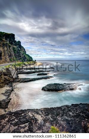 Scenic view of rocky coastline. - Reunion Island - stock photo