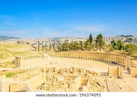 Scenic view of Ruins Gerasa and modern Jerash city in Jerash, Jordan.  - stock photo