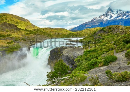 Scenic view of Salto Grande waterfall in Torres del Paine national park, Patagonia, Chile