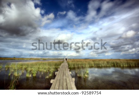 Scenic view of Saskatchewan marshes - stock photo