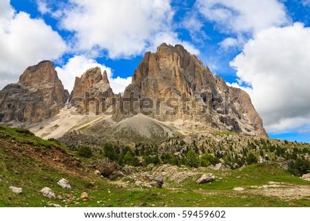 Scenic view of Sassolungo mountain in Dolomites. - stock photo