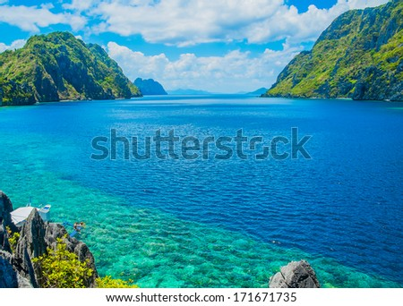 Scenic view of sea bay and mountain islands, Palawan, Philippines - stock photo
