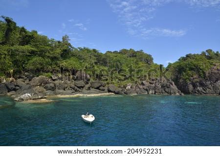 Scenic view of sea bay and mountain islands, Tenggol Island, Terengganu Malaysia - stock photo
