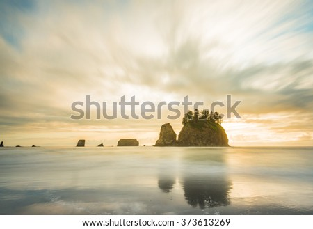 scenic view of sea stack in Second beach when sunset,in mt Olympic National park,Washington,usa. - stock photo