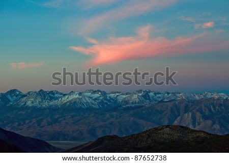 Scenic view of Sierra Nevada Mountain Range landscape at sunrise, Eastern California. - stock photo