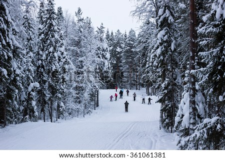 Scenic view of skiers on snowy ski course  with forest in background