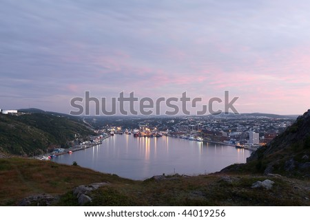 Scenic view of St. John's Harbor in Newfoundland, Canada. - stock photo