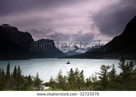 Scenic view of St. Mary Lake and mountains in Glacier National Park, Montana. - stock photo