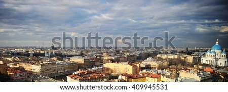scenic View of St. Petersburg from the roof with dramatic sky - stock photo