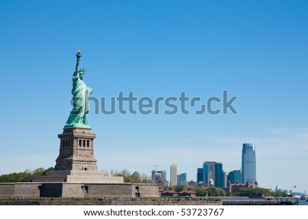 Scenic view of Statue of Liberty, New York City harbor, U.S.A - stock photo
