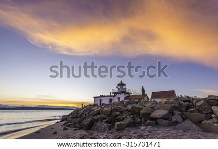 scenic view of sunset at Discovery Park,Washington,Usa - stock photo