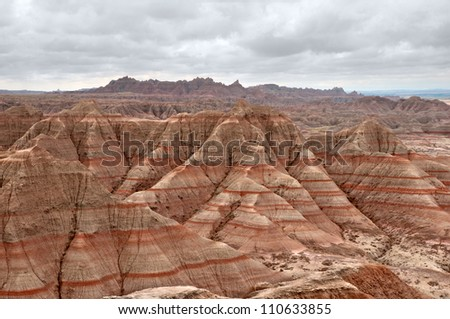 Scenic view of the Badlands National Park in South Dakota. - stock photo