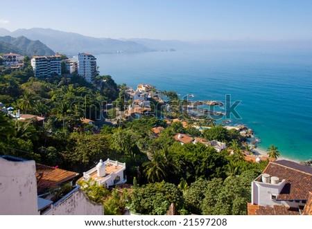 Scenic view of the beautiful coastline of Banderas Bay, Puerto Vallarta, Mexico - stock photo