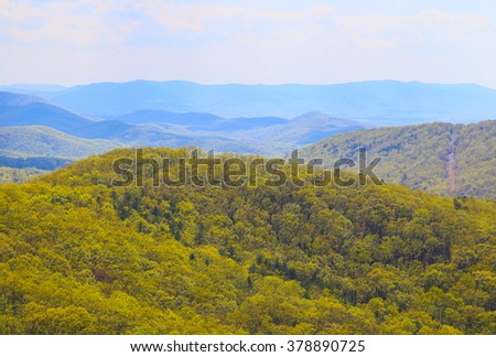 Scenic view of the Blue Ridge Mountains from the Skyline Drive in Virgina. - stock photo