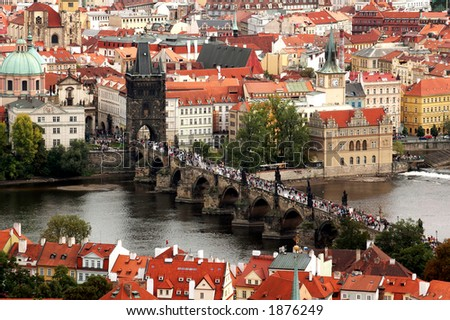 Scenic View of the famous Prague bridges - stock photo