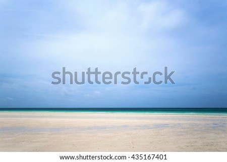Scenic view of the Gold Rock Beach in the Lucayan National Park, Grand Bahama, Bahamas. Caribbean beaches with white sand coastline and deep blue sea, Bahamas. - stock photo