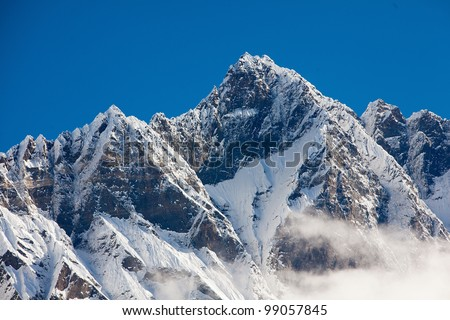 Scenic view of the Himalayas mountains - stock photo