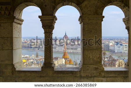 Scenic view of the Hungarian Parliament and Pest roofs, Budapest, Hungary - stock photo