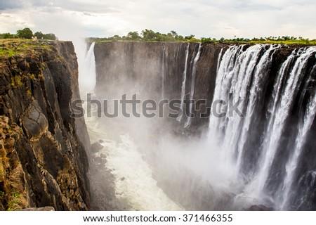 Scenic view of the Victoria Falls, Zambezi River, Zimbabwe and Zambia - stock photo