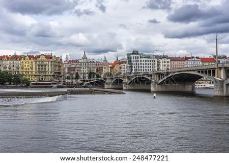 Scenic view of the Vltava embankment in Prague, Czech Republic. - stock photo