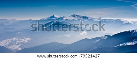 Scenic view of the winter mountains - stock photo