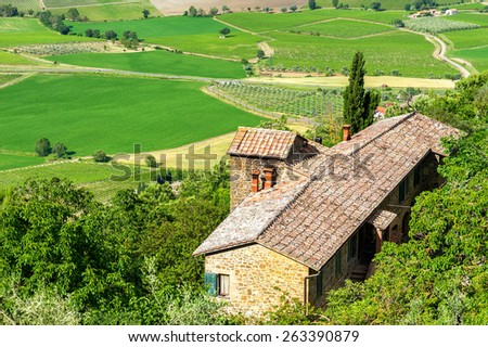 Scenic view of typical Tuscany landscape. - stock photo