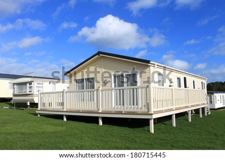 Scenic view of vacation or holiday caravan park, Scarborough, England. - stock photo