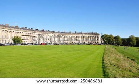 Scenic View of Victoria Park and The Royal Crescent in the Historic City of Bath in Somerset England - stock photo