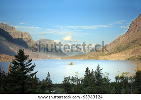 Scenic view of Wild Goose Island in Glacier National Park, Montana. - stock photo