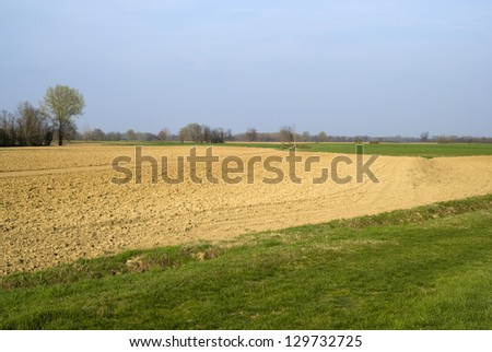 Scenic view on agricultural landscape - stock photo