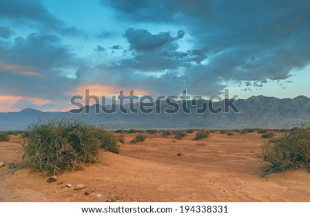 Scenic view on Avrona (Evrona) nature reserve, savanna valley of Arava, desert of the Negev, 5 km north of Eilat, Israel - stock photo