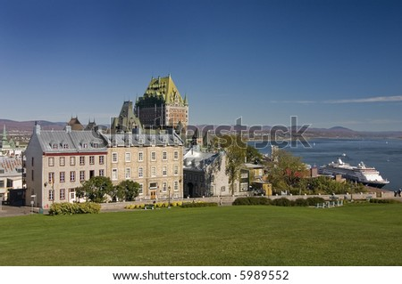 Scenic view on Château Frontenac, Quebec City, Quebec, Canada - stock photo