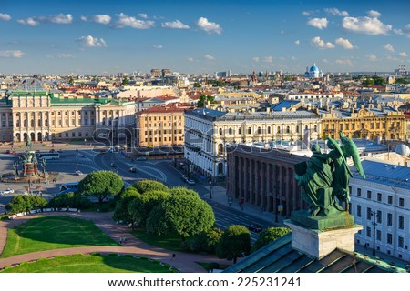 Scenic view on Saint-Petersburg city from the colonnade of St. Isaac's. Russia - stock photo