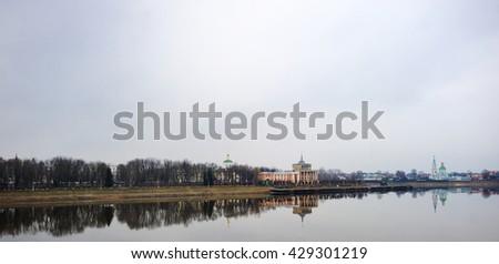 Scenic view on Volga river in Tver. Russia - stock photo