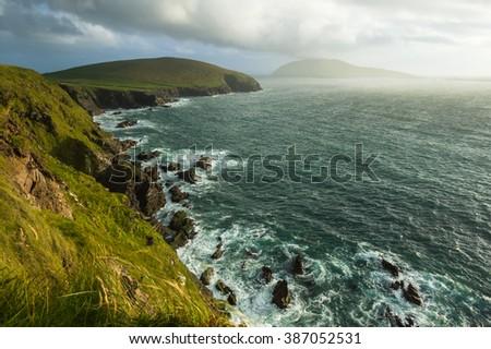 Scenic view over Atlantic coastline, Slea Head on Dingle peninsula, County Kerry, Ireland - stock photo