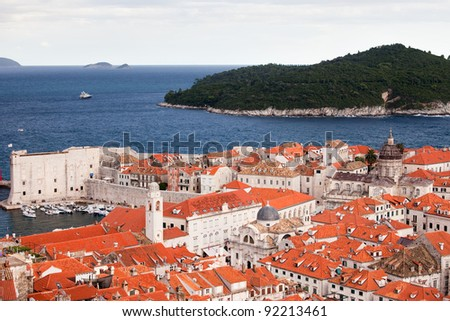 Scenic view over Dubrovnik Old City and Lokrum Island on the Adriatic Sea in Croatia