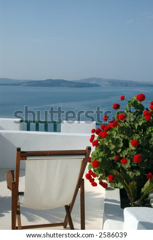 scenic view patio with plant incredible greek islands santorini - stock photo