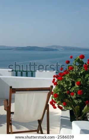 scenic view patio with plant incredible greek islands santorini - stock photo