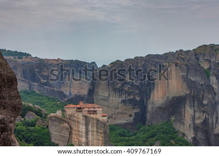 Scenic view to Meteora valley in Greece - stock photo
