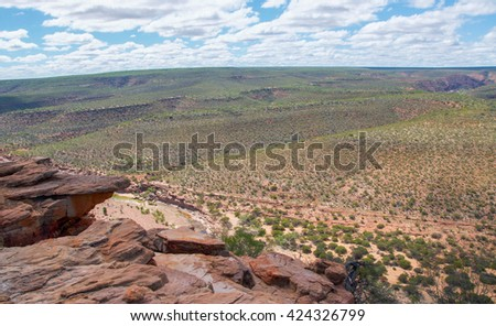 Scenic views from the Ross Graham Lookout with sandstone cliff overlooking the Kalbarri National Park in Western Australia/Bluff: Ross Graham Lookout/Kalbarri, National Park - stock photo
