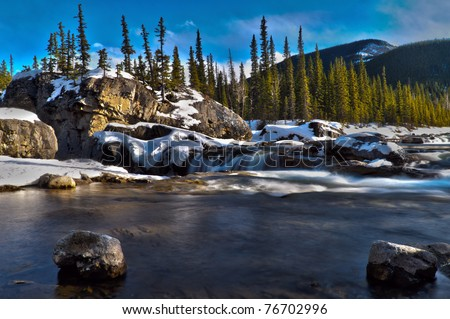 Scenic views of Elbow Falls Kananaskis Country Alberta Canada in early spring - stock photo