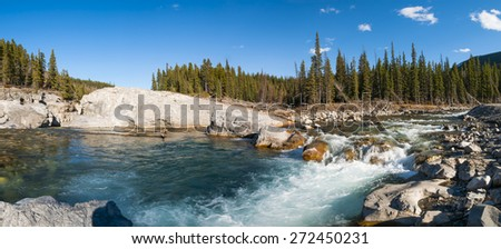 Scenic views of Elbow River falls in Kananaskis Country Alberta Canada - stock photo