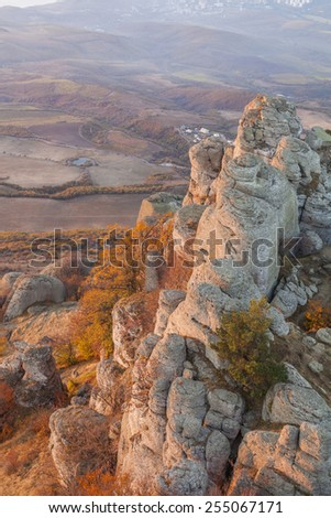 Scenic views of the beautiful Crimean Mountains. - stock photo