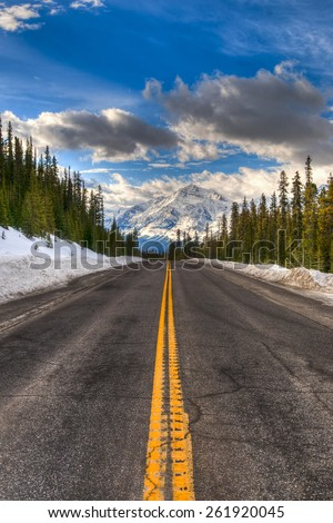 Scenic Views of the Icefields Parkway in winter, Banff National Park Alberta Canada - stock photo