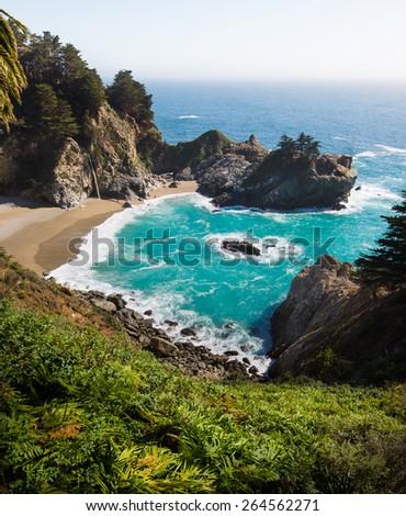 Scenic waterfall, McWay Fall, on California coast. - stock photo