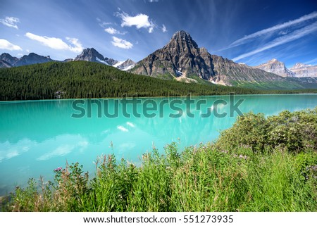 Scenic Waterfowl Lake on the Icefields Parkway, Banff National Park, Alberta, Canada
